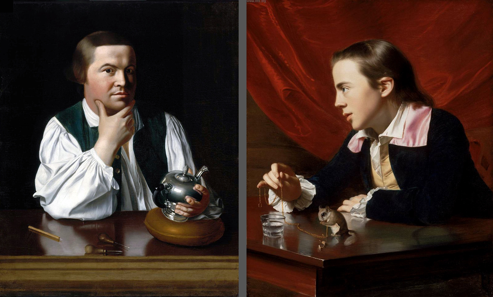 From left:John Singleton Copley, Paul Revere. Oil on canvas, 1768. Museum of Fine Arts, Boston. 30.781John Singleton Copley, A Boy with a Flying Squirrel (Henry Pelham). Oil on canvas, 1765. Museum of Fine Arts, Boston. 1978.297
