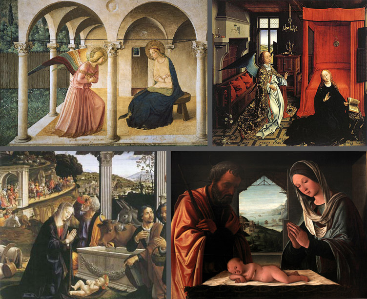 Clockwise from top left: Fra Angelico, The Annunciation. Fresco, 1438-35. Museo di San Marco, Florence. Rogier van der Weyden, Annunciation Triptych (detail). Oil on panel, 1434. The Louvre, Paris. Lorenzo Costa, Nativity. Painting, circa 1490. Museum of Fine Arts of Lyon. Domenico Ghirlandaio, Nativity and Adoration of the Shepherds. Tempera and oil on panel, 1485. Santa Trinità, Florence.