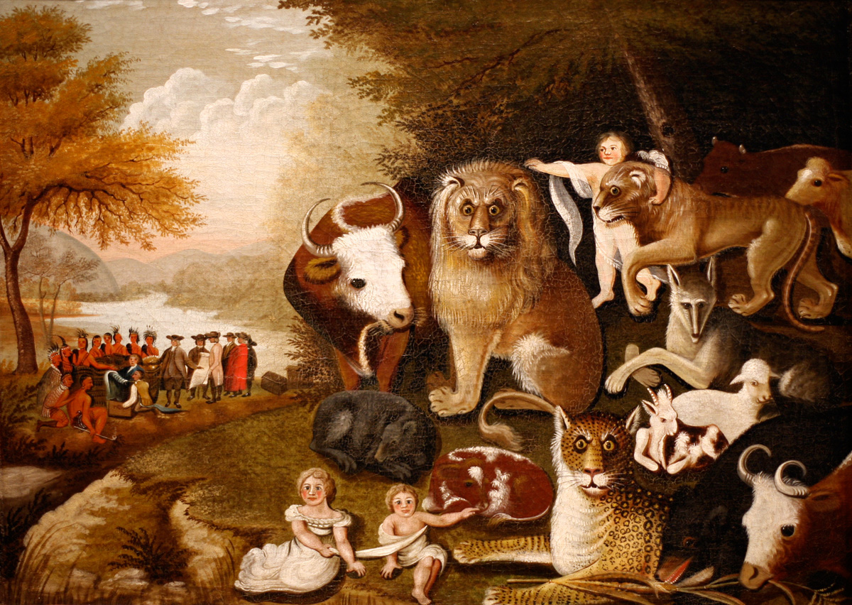 Edward Hicks, The Peaceable Kingdom. Oil on canvas, between 1830 and 1840. Brooklyn Museum, Dick S. Ramsay Fund, 40.340.