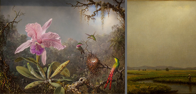 Martin Johnson Heade, Cattleya Orchid and Three Brazilian Hummingbirds. Oil on panel, 1871. National Gallery of Art, Gift of the Morris and Gwendolyn Cafritz Foundation, 1982.73.1.Detail of Jersey Meadows with a Fisherman.