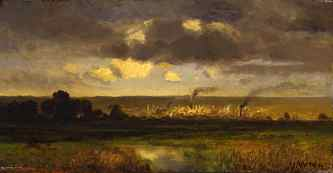 Mary Nimmo Moran, View of Newark from the Meadows. Oil on wood, circa 1879. Newark Museum, Gift of Allen McIntoch 1956, 56.171.
