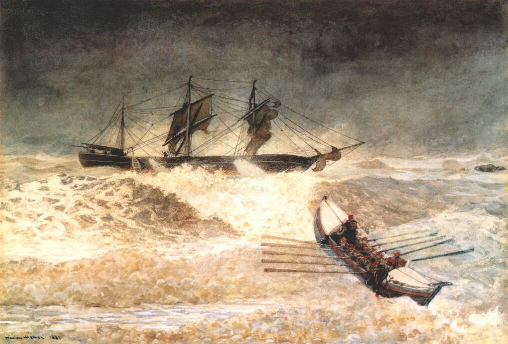 Winslow Homer, Wreck of the Iron Crown. Transparent and opaque watercolor over graphite and charcoal, 1881. Carleton Mitchell and Ruth Mitchell Collection, on extended loan to the Baltimore Museum of Art.